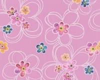 Vorschau: Blumen pink Kinderwelt - A.S. Creation Papier-Tapete