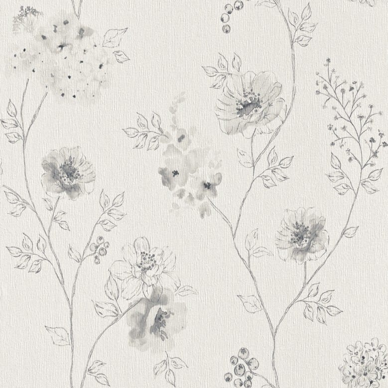 Blüten Grau - Rasch Vlies-Tapete Floral