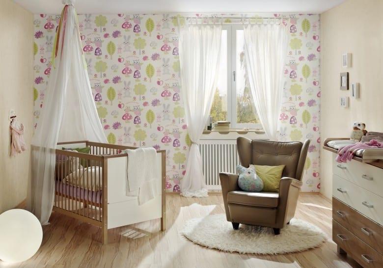 Waldfreunde rosa Kinderwelt - A.S. Creation Papier-Tapete