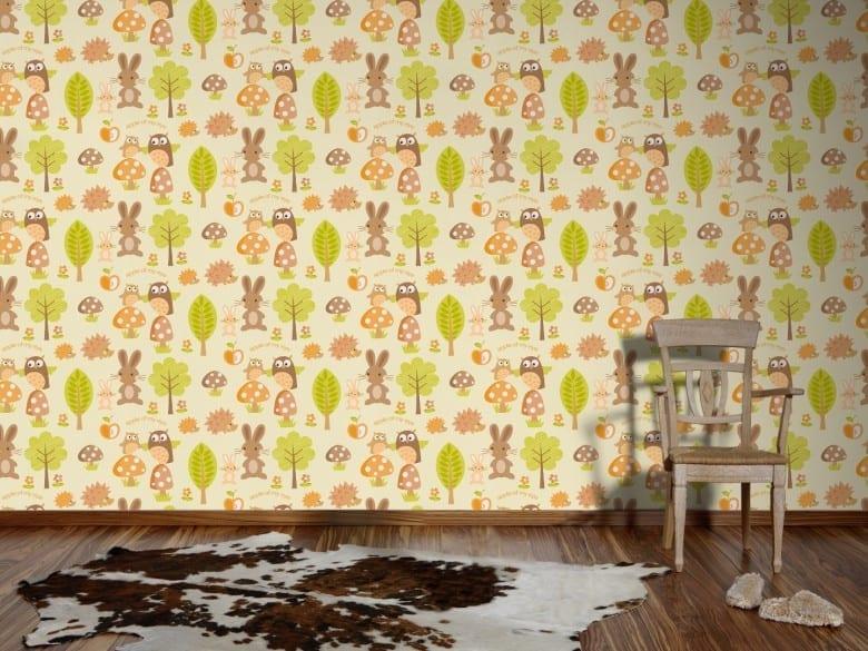 Waldfreunde orange Kinderwelt - A.S. Creation Papier-Tapete