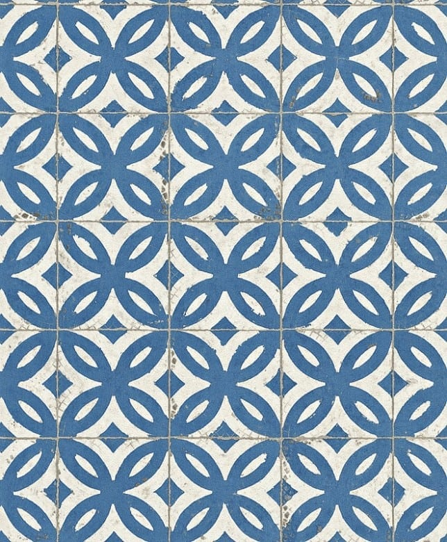 Fliesenornamente Blau - Rasch Vlies-Tapete Fototapete