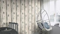 Vorschau: Birkenstamm Creme - Rasch Vlies-Tapete Holzoptik