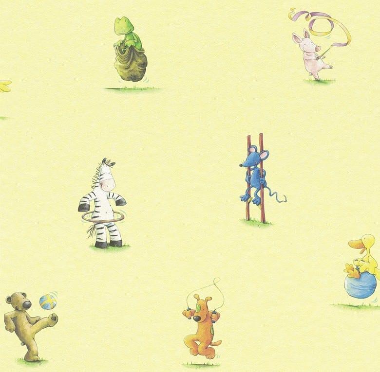 Die lieben Sieben Tiere Gelb - Rasch Papier Kindertapete