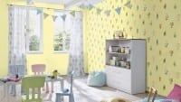 Vorschau: Die lieben Sieben Tiere Gelb - Rasch Papier Kindertapete
