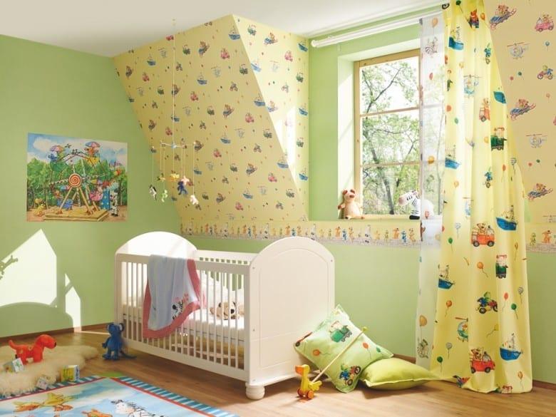 Die lieben Sieben Fahrspaß Gelb - Rasch Papier Kindertapete