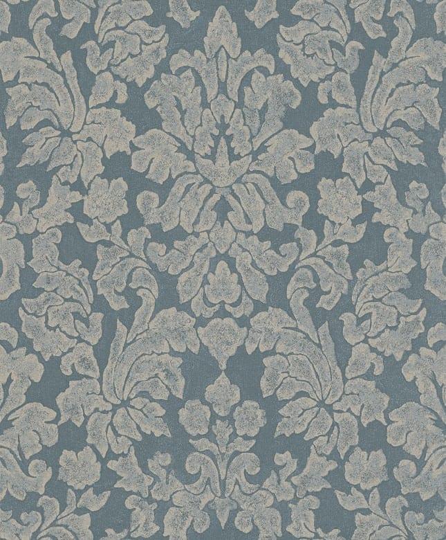 Tapete Barock Blau Gold - Rasch Vlies - Floralprint
