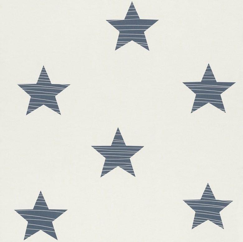Sterne Dunkelblau - Rasch Papier Kindertapete