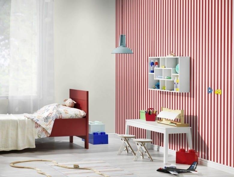 Rote Streifen - Rasch Papier Kindertapete