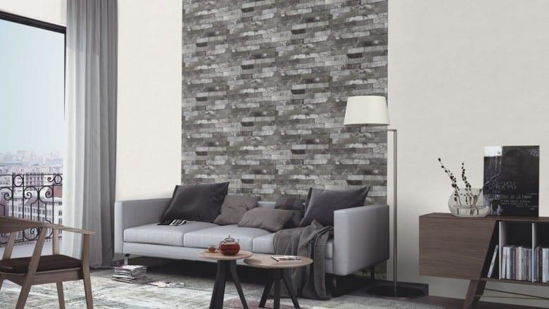 ziegelmauer grau rasch vlies tapete steinoptik. Black Bedroom Furniture Sets. Home Design Ideas