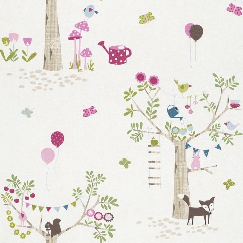Gartenfreunde Rosa - Rasch Papier Kindertapete