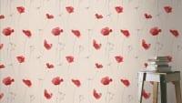 Vorschau: Mohnblume Rot - Rasch Vlies-Tapete Floral