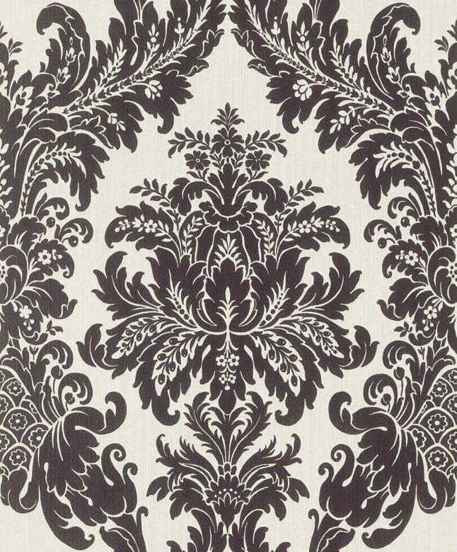 Floral schwarz-weiß - Rasch Vlies-Tapete