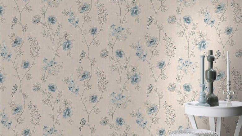 Blüten Blau - Rasch Vlies-Tapete Floral