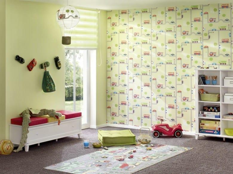 Straße grün Kinderwelt - A.S. Creation Papier-Tapete