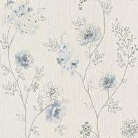 Vorschau: Blüten Blau - Rasch Vlies-Tapete Floral