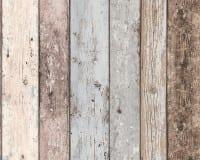 Vorschau: Blau Streifen Holzoptik- A.S. Creation Vlies -Tapete