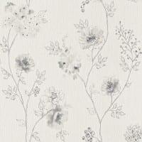 Vorschau: Blüten Grau - Rasch Vlies-Tapete Floral