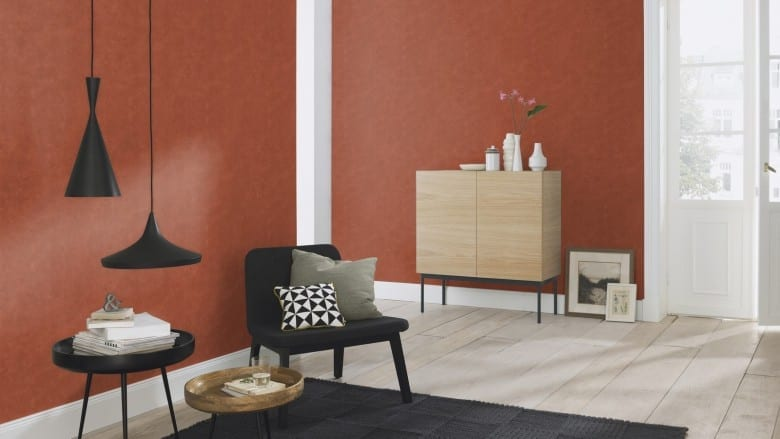 Beton Terracotta - Rasch Vlies-Tapete Betonoptik