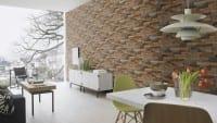 Vorschau: Ziegelmauer Terracotta - Rasch Vlies-Tapete Steinoptik