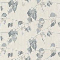 Vorschau: Blätter Blau Grau - Rasch Vlies-Tapete Floral