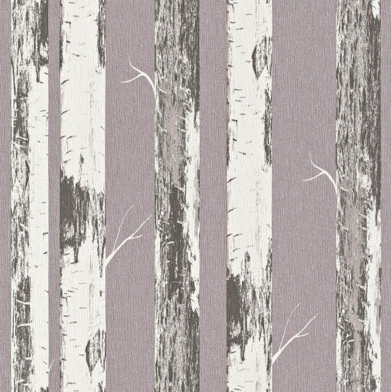 Birkenstamm Lila - Rasch Vlies-Tapete Holzoptik