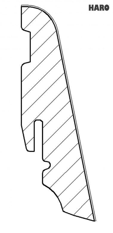 Haro Stecksockelleiste Steineiche Creme Massivholzkern 19x58mm