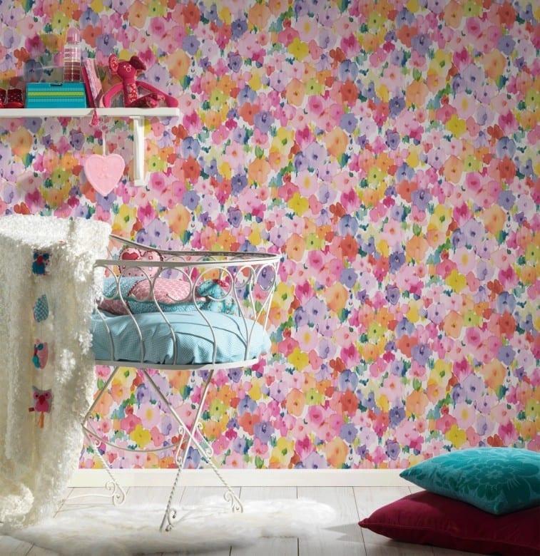 Blumenwiese bunt Kinderwelt - A.S. Creation Papier-Tapete