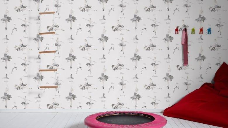 Ballerina schwarz-weiß Kinderwelt - A.S. Creation Papier-Tapete