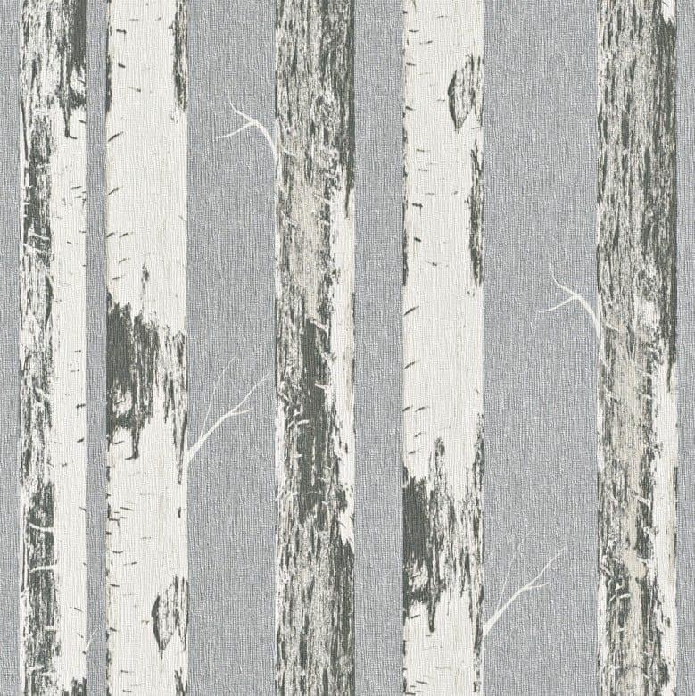 Birkenstamm Grau - Rasch Vlies-Tapete Holzoptik