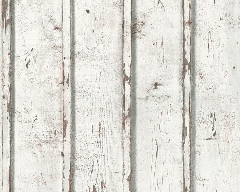 White Used Holzoptik- A.S. Creation Vlies -Tapete