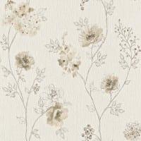 Vorschau: Blüten Karamell - Rasch Vlies-Tapete Floral