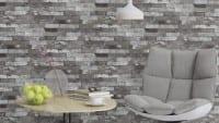 Vorschau: Ziegelmauer Grau - Rasch Vlies-Tapete Steinoptik