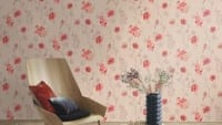 Vorschau: Blüten Rot - Rasch Vlies-Tapete Floral