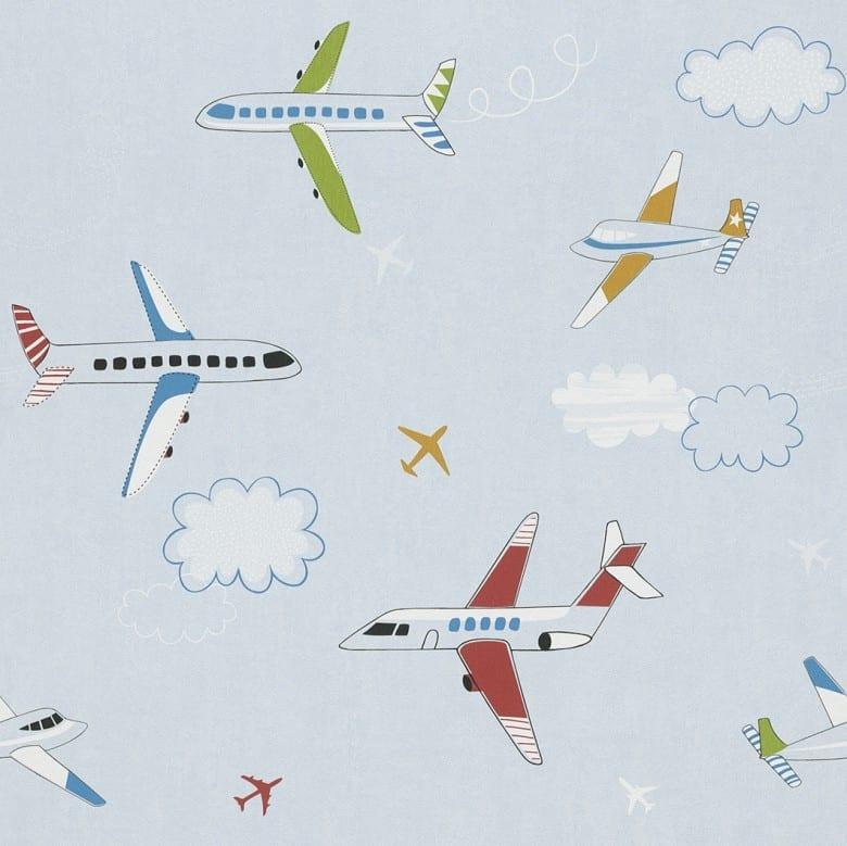 Flugzeuge blau Kindertapeten - Rasch Papiertapete
