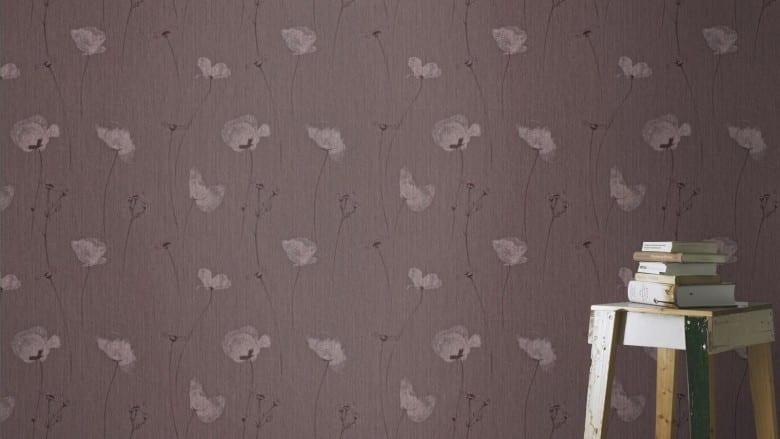 Mohnblume Dunkel - Rasch Vlies-Tapete Floral