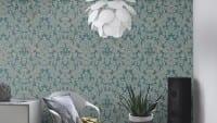 Vorschau: Tapete Barock Blau Gold - Rasch Vlies - Floralprint