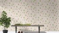 Vorschau: Blüten Grün Lila - Rasch Vlies-Tapete Floral
