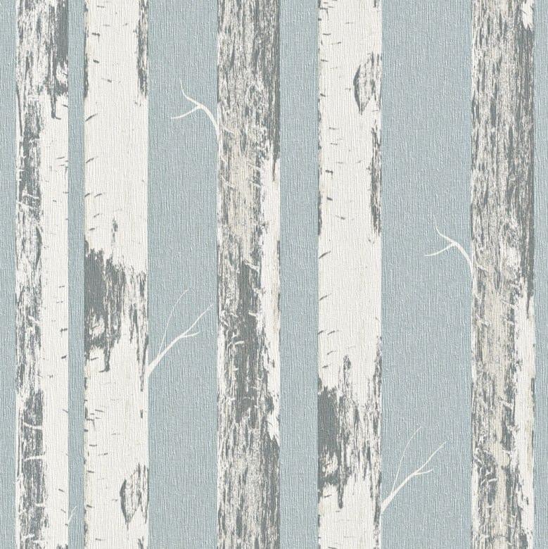 Birkenstamm Blau - Rasch Vlies-Tapete Holzoptik