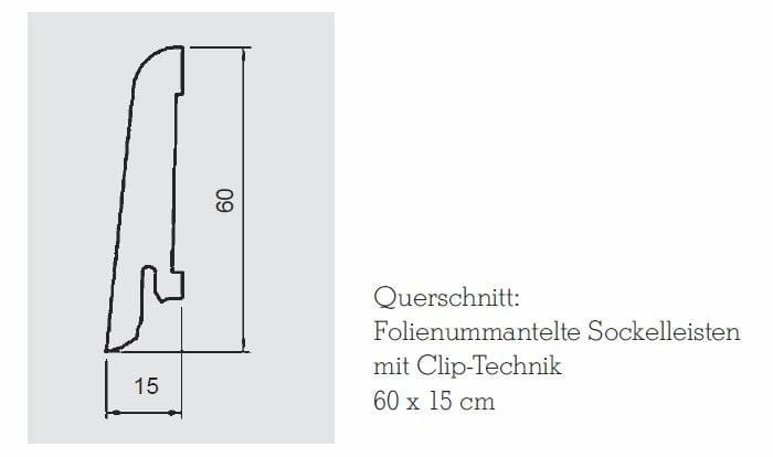 Wicanders Sockelleiste folienummantelt 60 MDF_Querschnitt