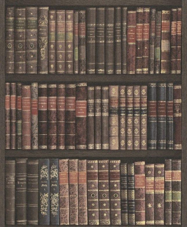 Bibliothek Braun - Rasch Vlies-Tapete Fototapete