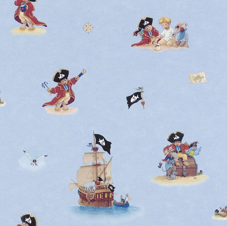 Pirat Blau - Rasch Papier Kindertapete