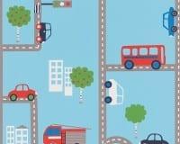 Vorschau: Straße blau Kinderwelt - A.S. Creation Papier-Tapete